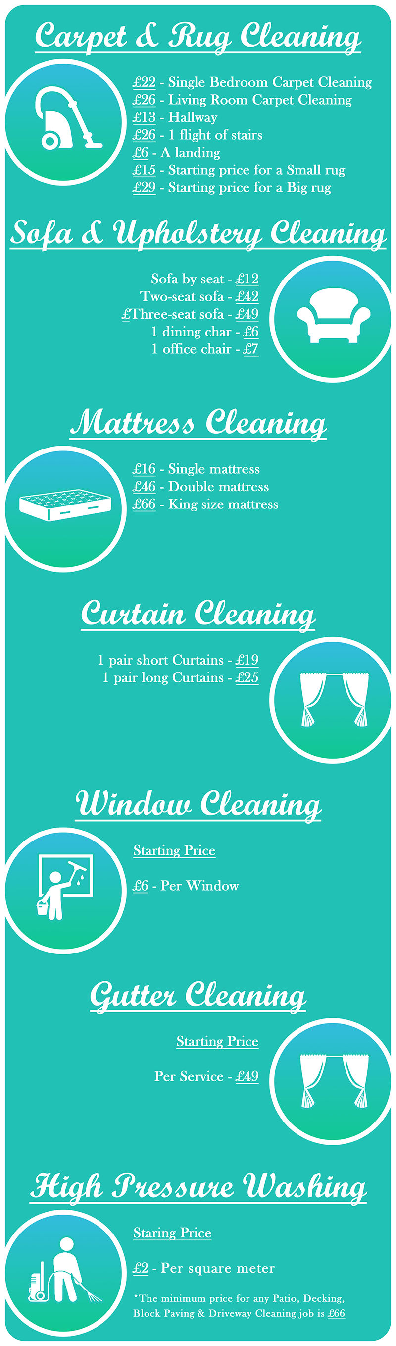 please see some of our starting of prices and rates for more precise pricing call us on 020 carpet and upholstery cleaning u2013
